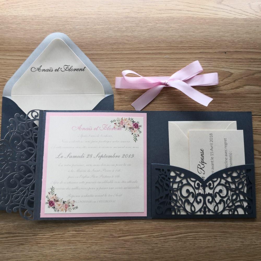 50 pcs corte a laser muito escuro cinza conjunto de cartão de bolso frete grátis Design personalizado e impressão