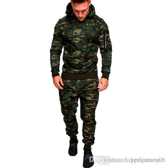 مصمم هوديس الرجال أزياء الربيع الهيب هوب رياضية التمويه سترة هوديس السراويل 2PCS الملابس مجموعات Pantalones تتسابق