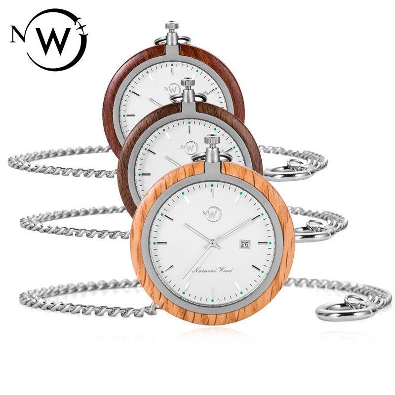 W 솔리드 우드 포켓 워치 호두 / 샌들 / 오크 우드 + 스테인레스 스틸 남성 남성 남성 시계 시계 Uniqueex Unique