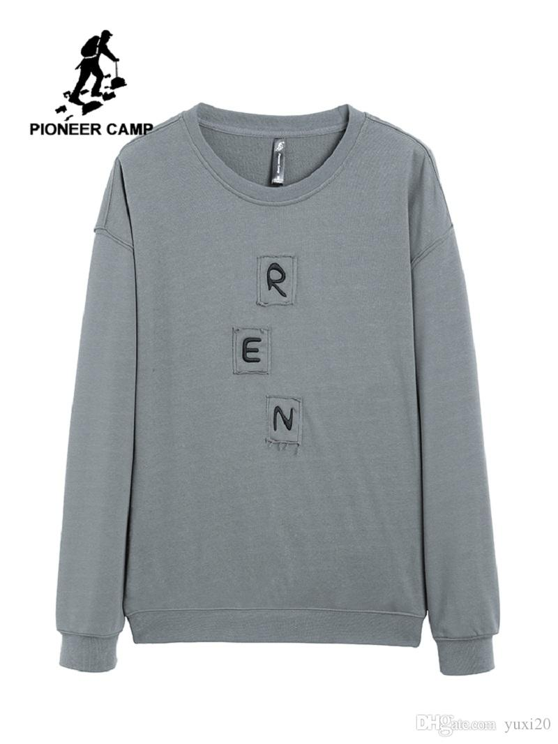 Pulls Casual Hommes Broderie Lettre Coton Solide Pull Hoodies Marque Vêtements À Manches Longues Top AWY901546