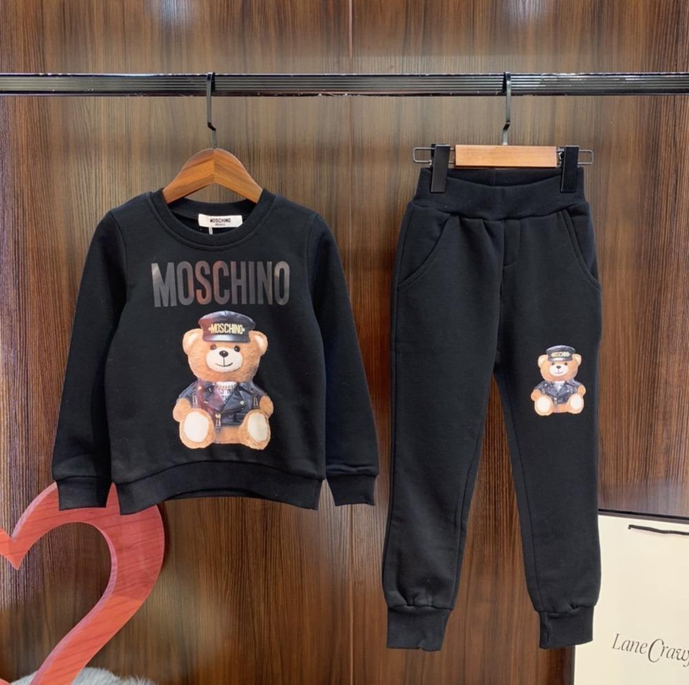meninos e meninas moda casual carta manga longa de impressão urso terno de alta qualidade 031411 Primavera e Outono