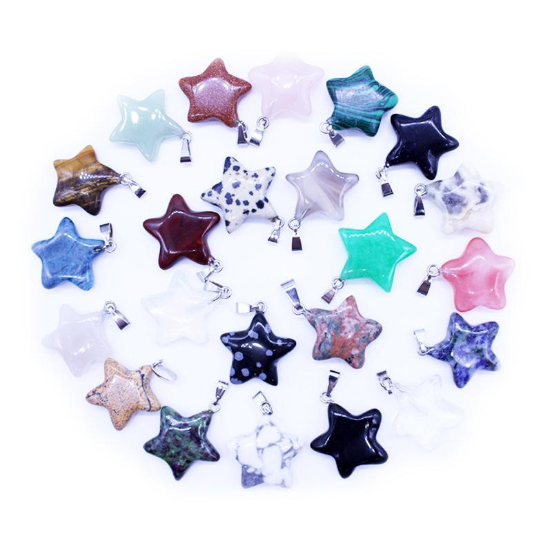 Colgante de piedra natural de moda Surtido estrella mixta encantos colgantes para DIY joyería que hace la piedra colgante
