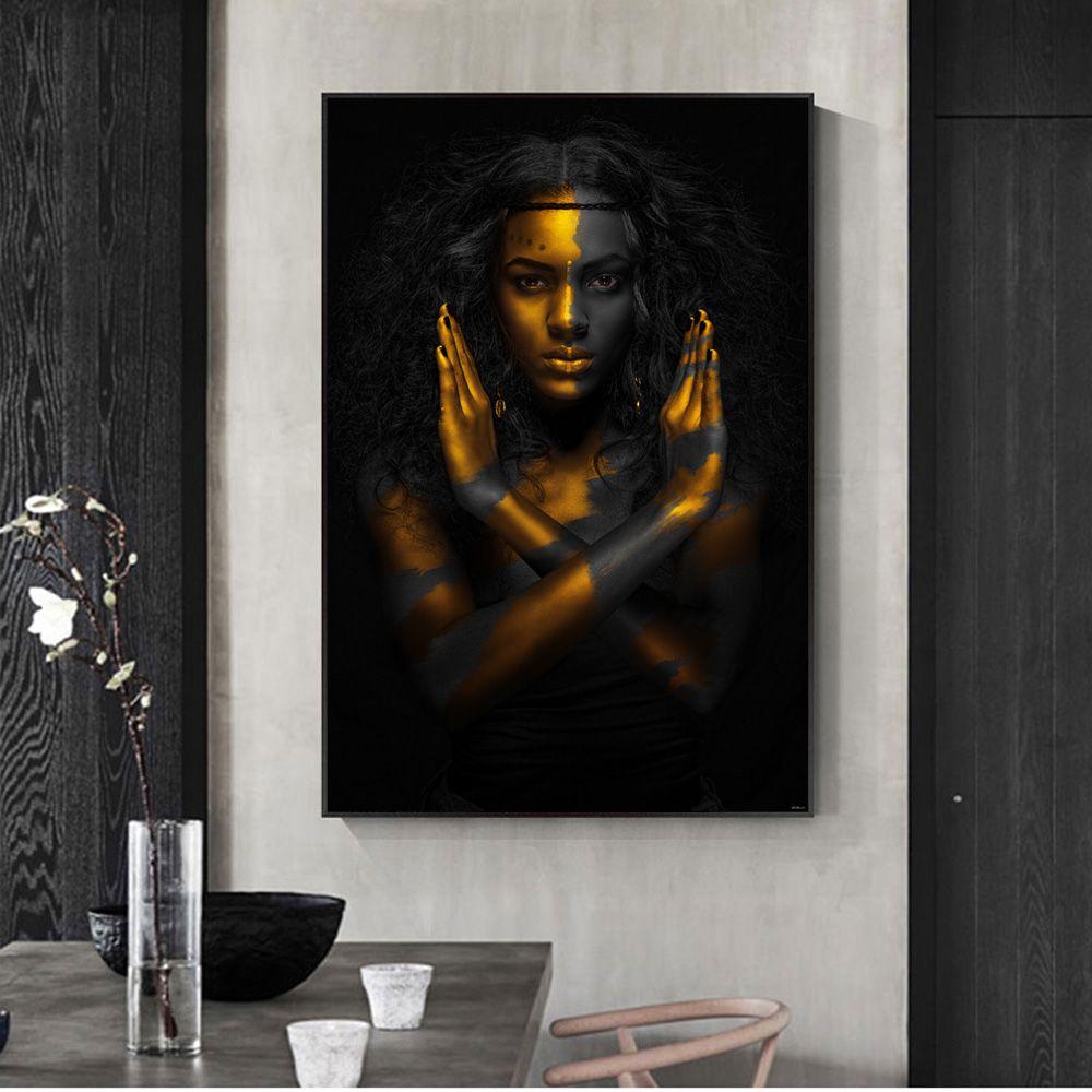 Goldene Make-up Hauptwand-Kunstdrucke auf Leinwand Sexy schwarze Mädchen-Kunst-Leinwand-Gemälde Afrikanische Wandbilder für Wohnzimmer-Dekor