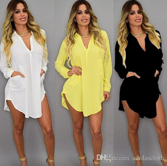 Casual Dresses Shirt Skirt Dress V Neck Short Beach Chiffon White Mini Loose T Plus Size Women Clothing