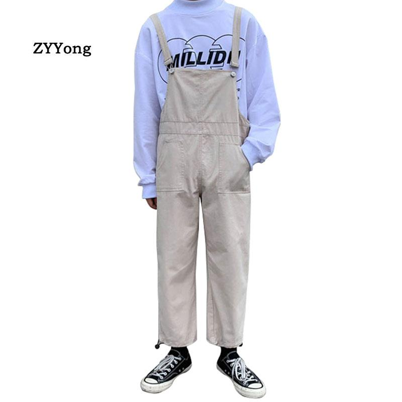2020 Mens Hip Hop Bib Overall Suspender Pants Japan Style Mern Cotton One Piece Jumpsuit Male Cargo Overalls Trousers