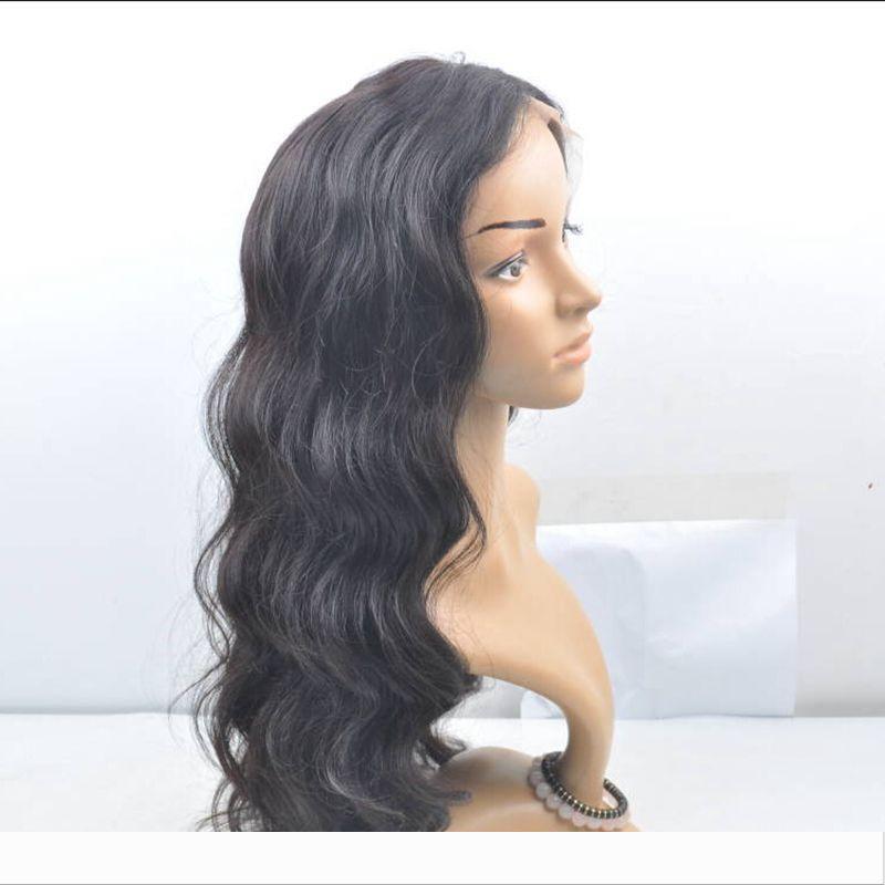 Llena del cordón del pelo humano pelucas 150 Densidad de la onda del cuerpo de Malasia peluca de cordón llena del cabello humano con el bebé de pelo para las mujeres