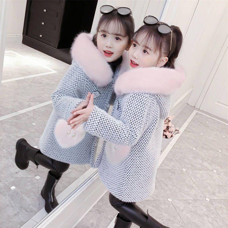 INS baby Girls parkas 2-13 years old kids thick coat sweater velvet thick hooded winter coat Woollen snow velvet trench
