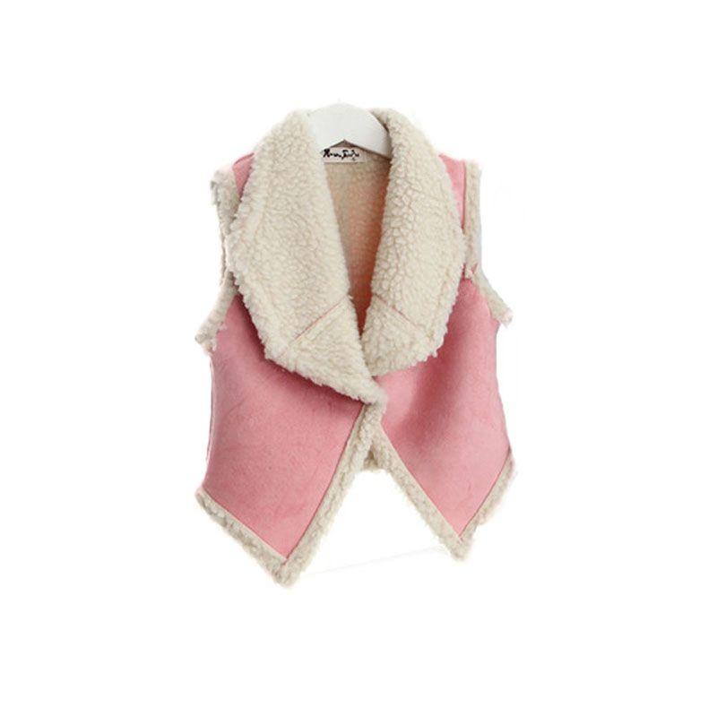 Invierno de los bebés de los niños sin mangas del chaleco de la solapa de lana del tanque del chaleco de la chaqueta de abrigo