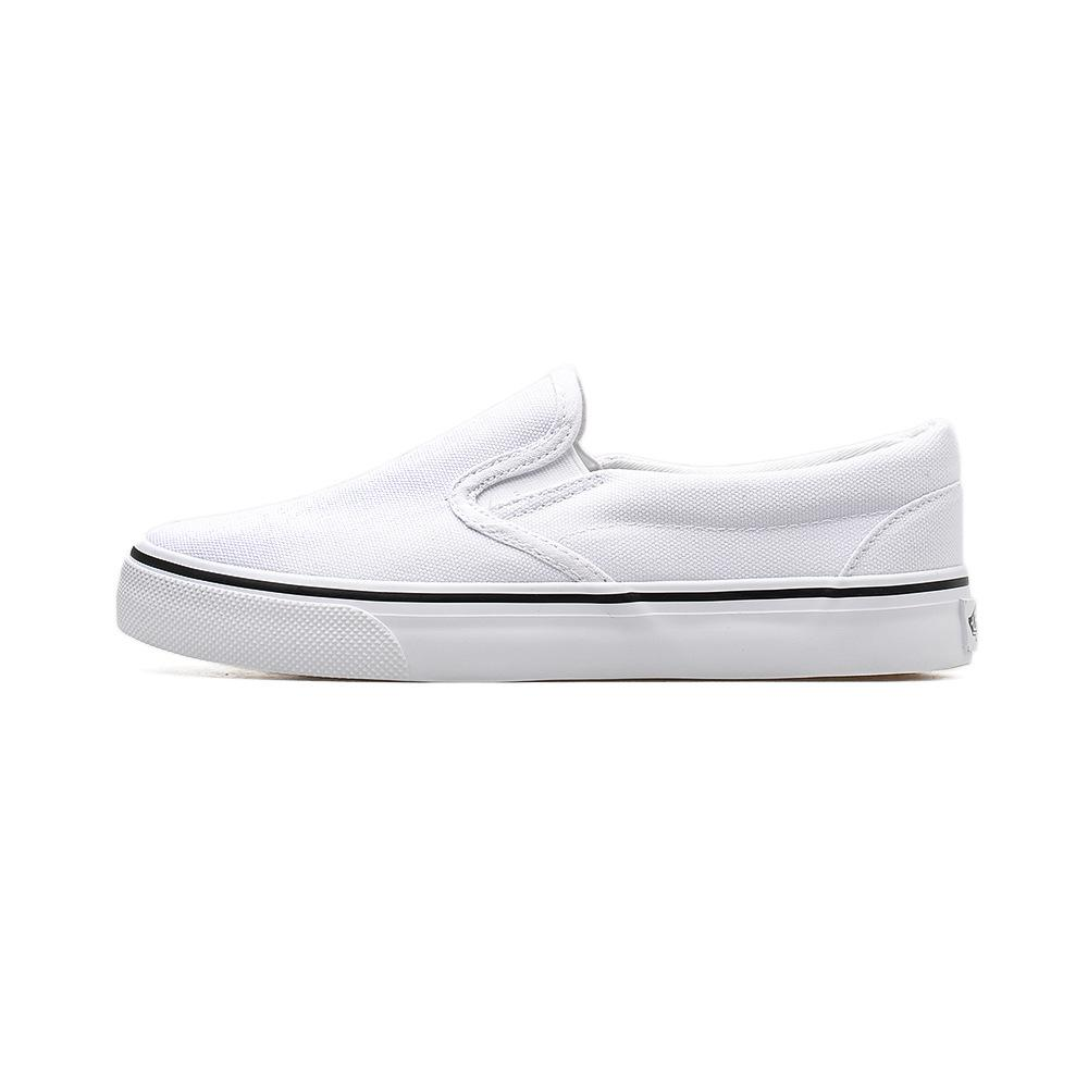 Hand-painted canvas white shoes lazy one pedal Korean version of the spring trend couple models students elastic shoes women.