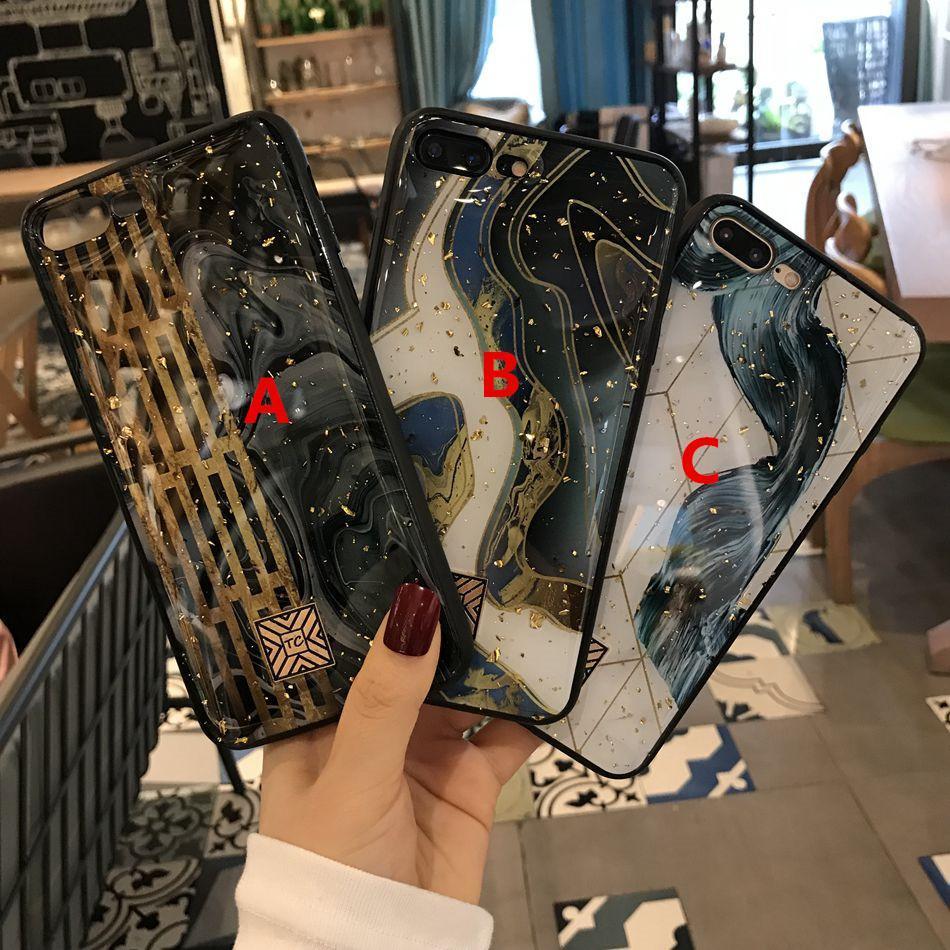 Золотая фольга Marble Bling телефон чехол для iPhone X XS Max XR 11 Pro TPU Гранит Геометрия Обложка для iPhone 7 8 6 6s Plus Glitter Case