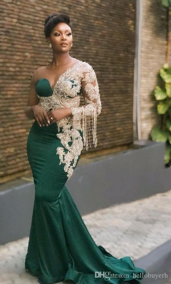 Zuhair Murad Long Arabic Dresses Evening Wear Plus Size Formal Dresses Evening Gowns Sleeves Long Sleeve Pom Dress Mermaid 2019 New