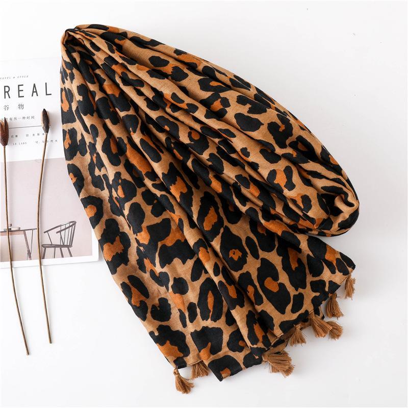 Season Scarf Super Cotton Scarf Shawl Dual Purpose Classic Coffee Color Leopard Print Long Fund Scarf Ma'amFashion New