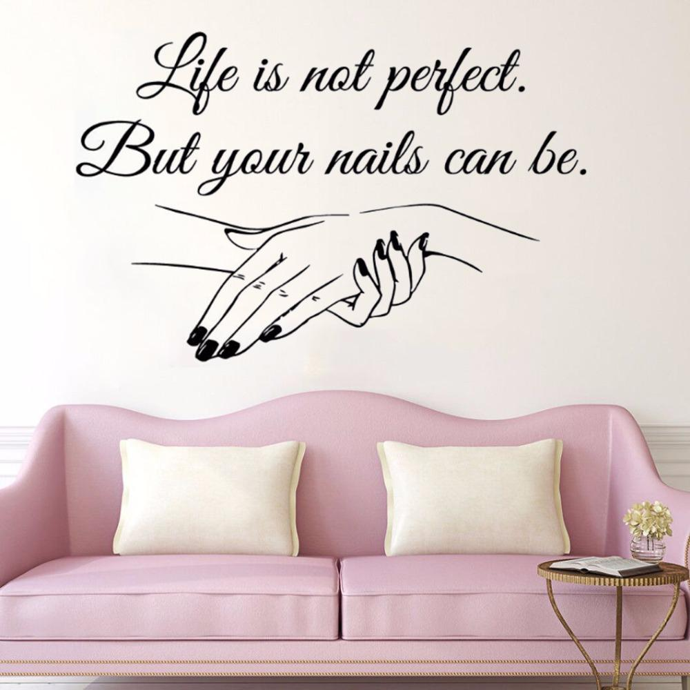 Window Vinyl Decal Nail Salon Quote Woman's hands Wall Sticker Nail Art Polish Wall Mural Beauty Salon Decoration Manicure Vinyl Art