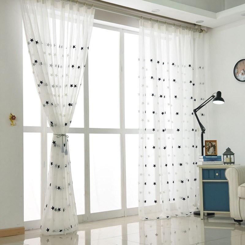 Moderne étoile blanche brodée voilages pour Salon Chambre Cuisine Tulle Rideaux Enfants Chambre bébé porte fenêtre