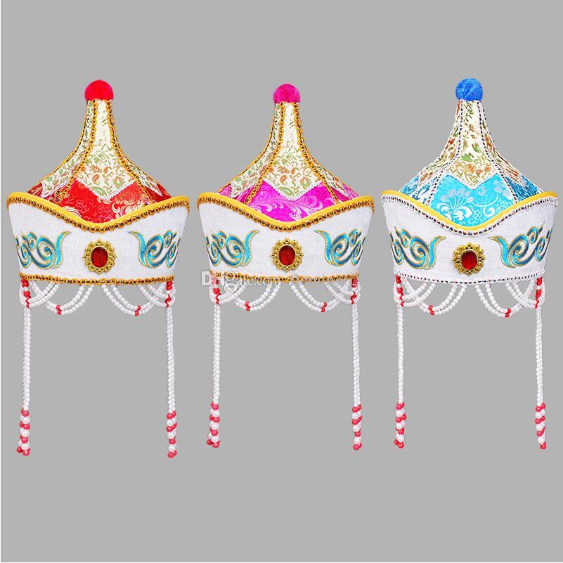 Mongolian costume accessories women red mongolian hat beautiful mongolian stage dance cap princess cosplay head wear