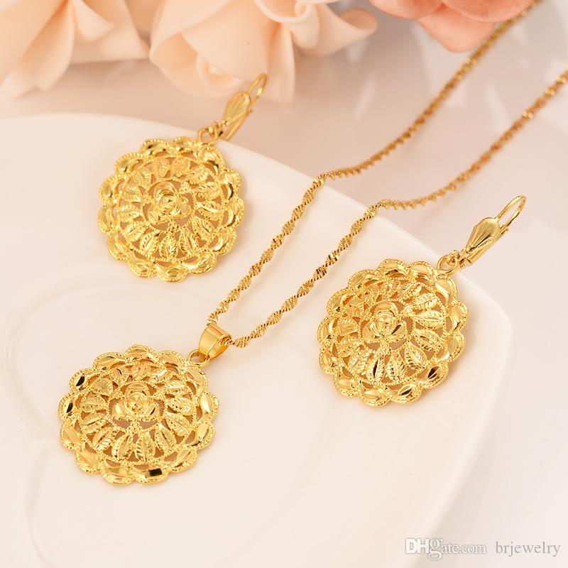 Necklace Charm Gift Gold Color For Wedding Gifts Women Jewelry Sets Earrings