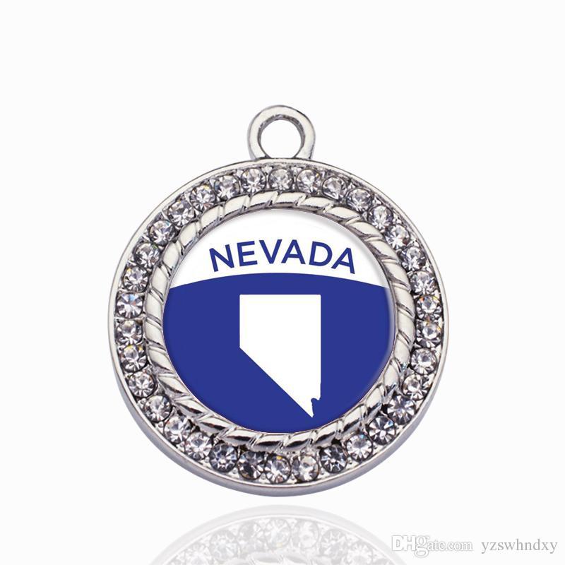 Nevada Outline Circle Charmc Charm oro / ciondoli nastro per collana / braccialetto che fanno risultati di gioielli fai da te fatti a mano regali artigianali