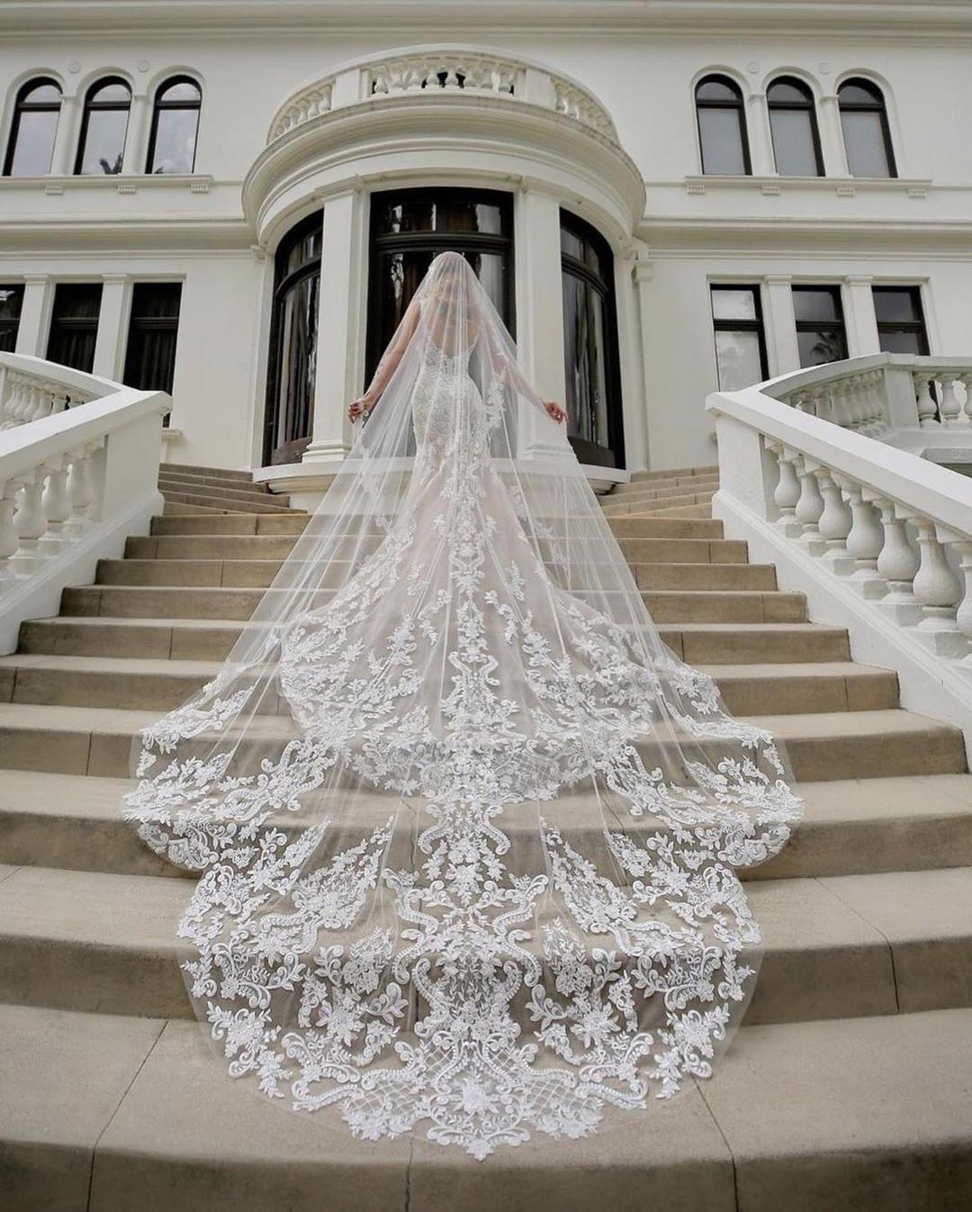 Best Selling Cappella lunghezza Bridal Veils con appliques in magazzino Long Wedding Veils 2019 Vestido de Noiva Longo Wedding Veil V140