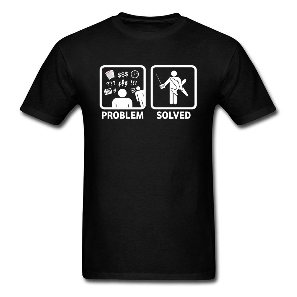 Homens de rádio RC Camiseta T-shirt engraçado Aviões controlados Problema resolvido Comics T Shirt 100% algodão Black White cobre T ocupadas