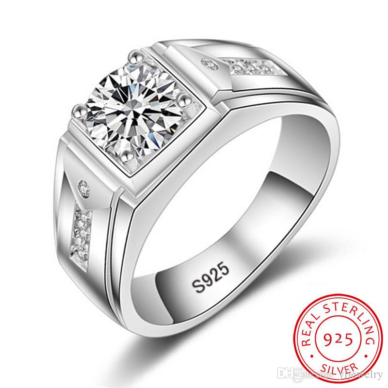 50% OFF! Luxury Fashion Man Wedding Ring 100% 925 Sterling Silver Ring 1 Ct CZ Diamond Engagement Rings for Men Jewelry Wholesale M009