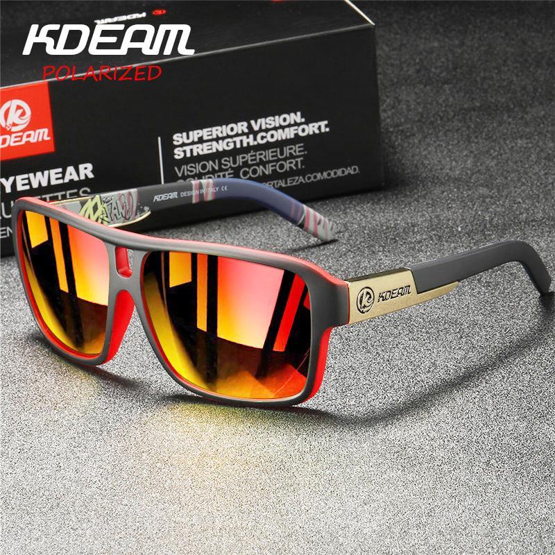 KDEAM Polarizada Óculos Homens Esporte Óculos Praça Sunglasses Masculino Marca Driving Polarizada Óculos Outdoor UV400 Goggles X7 T200615