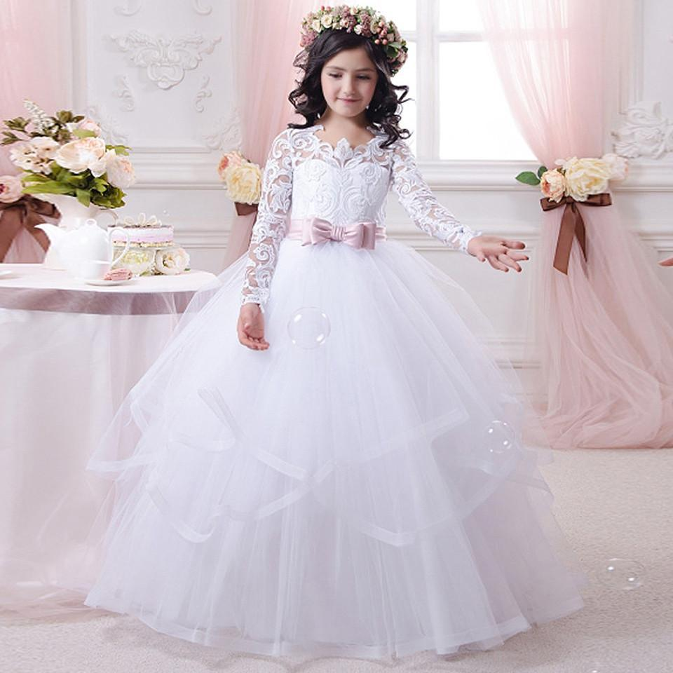 New Arrival Holy Communion Dresses Ball Gown Long Sleeves Lace Back Button Solid O-neck Flower Girl Dresses CG01