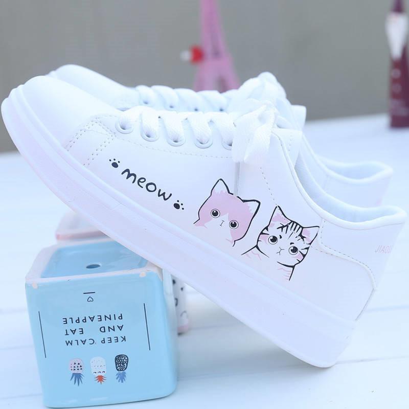أزياء المرأة حذاء المرأة الاحذية النساء مطبوعة بو قماش أحذية لطيف القط Zapatos دي موهير