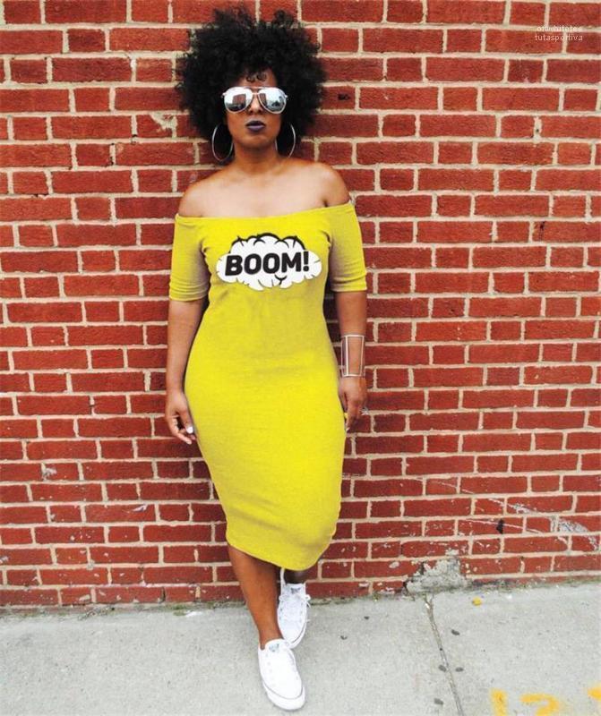 Vêtements femmes BOOM Designer Jaune Robe D'été Slash Cou Longue Casual Robes Vestidoes
