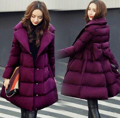 Chegada nova Hot Sale Special Moda Versão Coreana de Fadas Feminino Inverno Longo Seção Roxo Arco de Algodão Virgem Mais de Veludo de Algodão Casaco