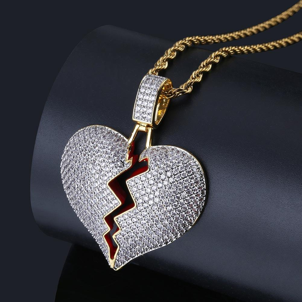 IBroken Heart Men and Women Couple Pendant Necklace 18K Gold Plated Bling CZ Simulated Diamond Hip Hop Rapper Chain Necklace for Men Women