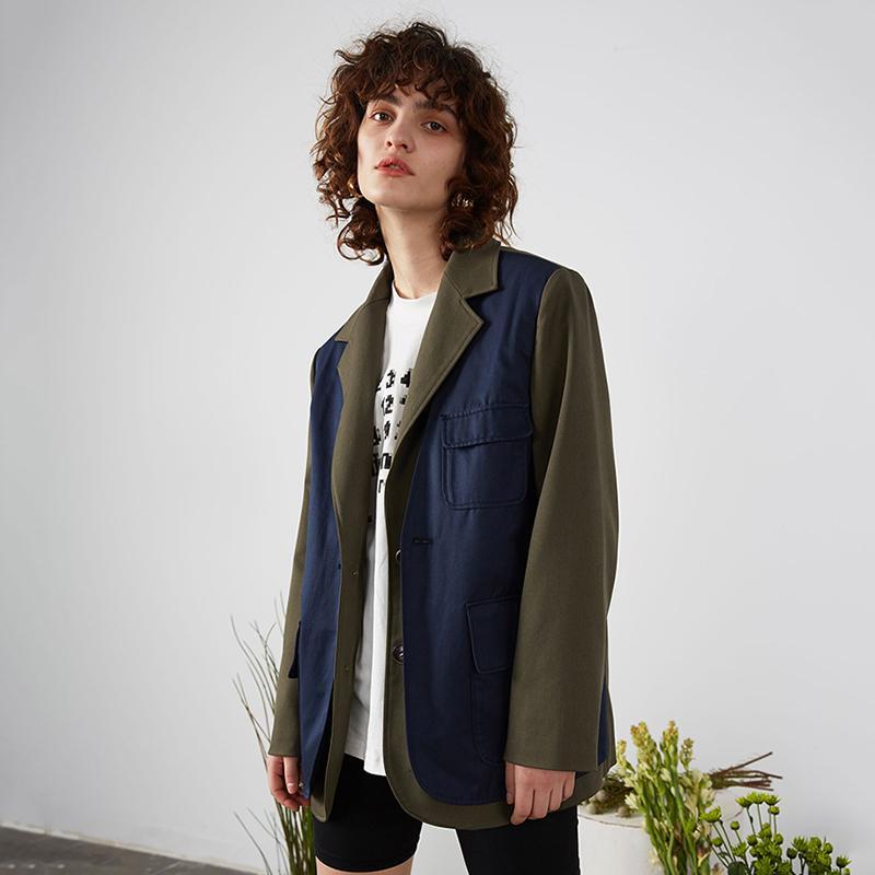 Loose Women Contraste Vert Color Split Blazer manches longues New Lapel Loose Fit Jacket Fashion Spring Tide Automne 2020 1R689