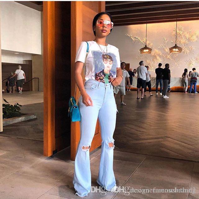 Moda Vintage Kadınlar Flare Jeans Yaz Açık Mavi Skinny Jeans Seksi Bayanlar Fermuar Fly Uzun Pantolon Ripped