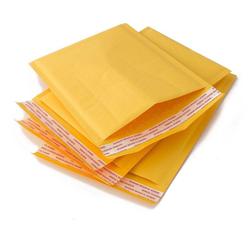 100 pezzi giallo bolle bollettini sacchetti Oro Kraft busta di carta sacchetto della prova nuova espresso imballaggio borsa insacca il trasporto