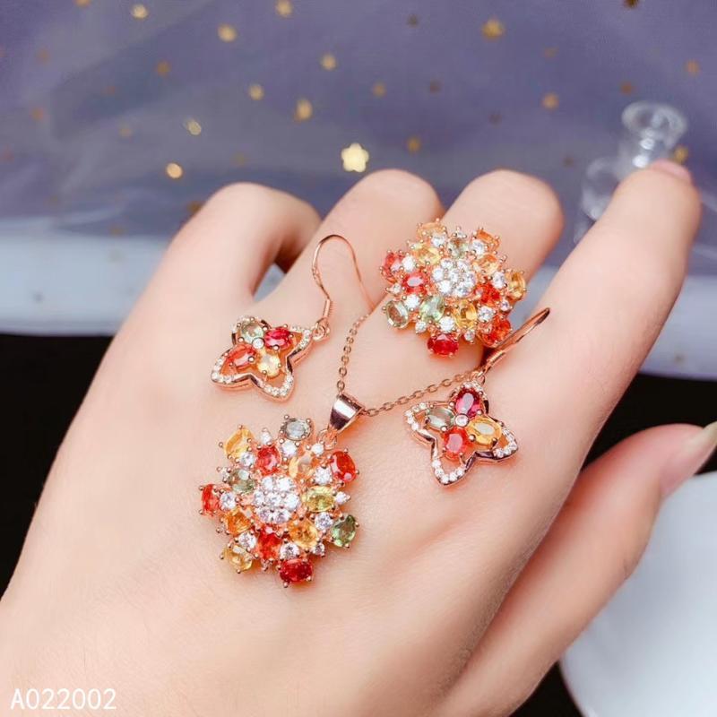 KJJEAXCMY Fine Jewelry Argento 925 intarsiato naturale zaffiro ciondolo femminile anello colorato orecchino test set supporti di lusso