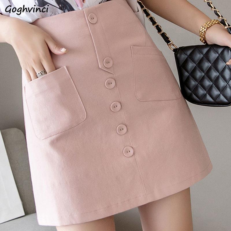 Etekler Kadınlar Düğme Katı Şık Boş Şık Basit Ofis İnce Bayan Yüksek Bel BODYCON Mini Etek All-maç moda Cepler