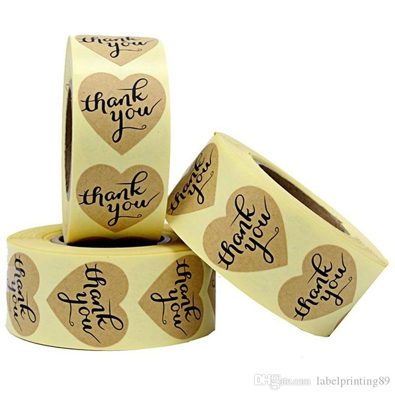 1.2 بوصة 1000 قطع شكرا لك ورق الكرافت لاصق ملصق تسمية شكل قلب التسمية ذاتية اللصق لحزمة ختم مربع ملصقا