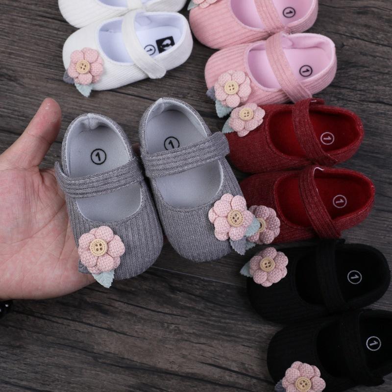 New Baby Erster Wanderer Kleidung Kind-Kind-neugeborene Baby-Mädchen Unisex weiche Sohle Krippe Schuhe Blume Baumwolle Prewalker Schuhe