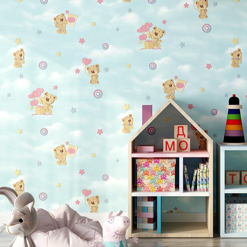 Cartoon Pink Blue Beige Children's Room Wallpaper Cute Bear Wall Paper 3d For Baby Boy Girls Bedroom