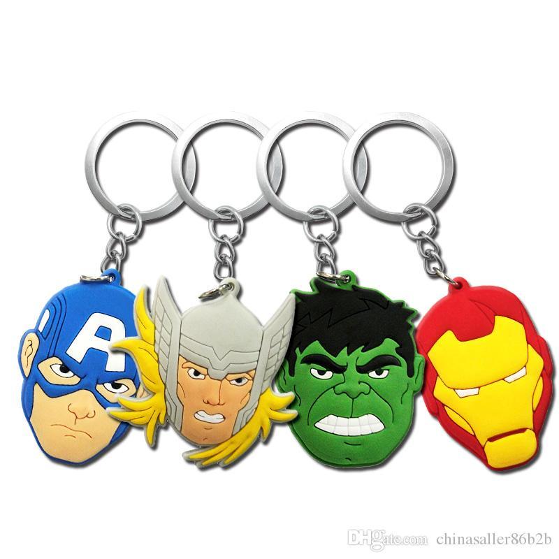 موك = 10 قطع المنتقمون بطل السوبر الرجل العنكبوت باتمان سلاسل معدنية لطيف الكرتون لينة حلقة رئيسية pvc أنيمي الشكل بوي المفاتيح سيارة مفتاح حامل