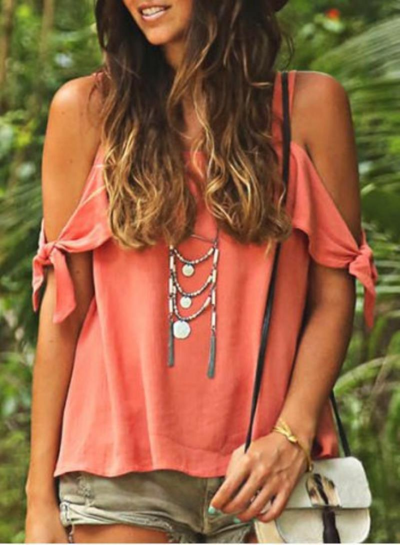 Women's womens designer Tops Tees Clothing Halter back print New women's casual vest with Chiffon Top and knotted sleeves