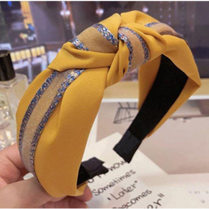 Fascia nuova delle donne largo del tessuto della fascia dei capelli nodo Hairband per le ragazze dei capelli Accessori Dolce stile coreano solido di colore