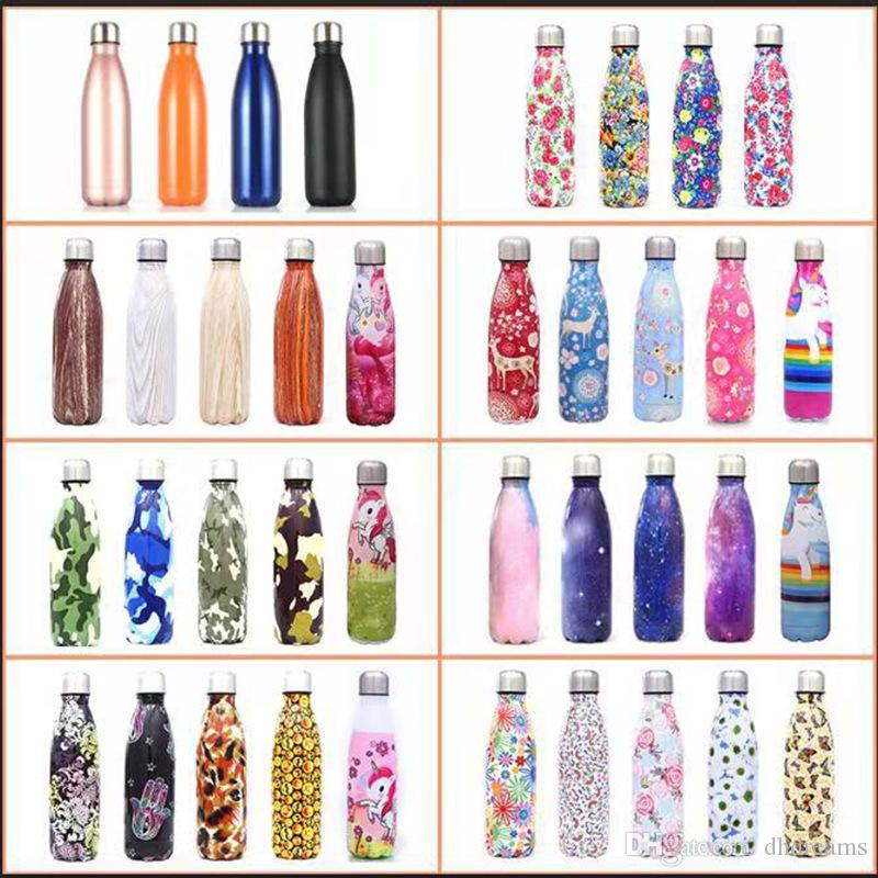 17oz Yaratıcı mermer su şişesi Çift Duvar İzoleli Cola Şişeleri mandal BPA Free Metal Spor Termos Termos