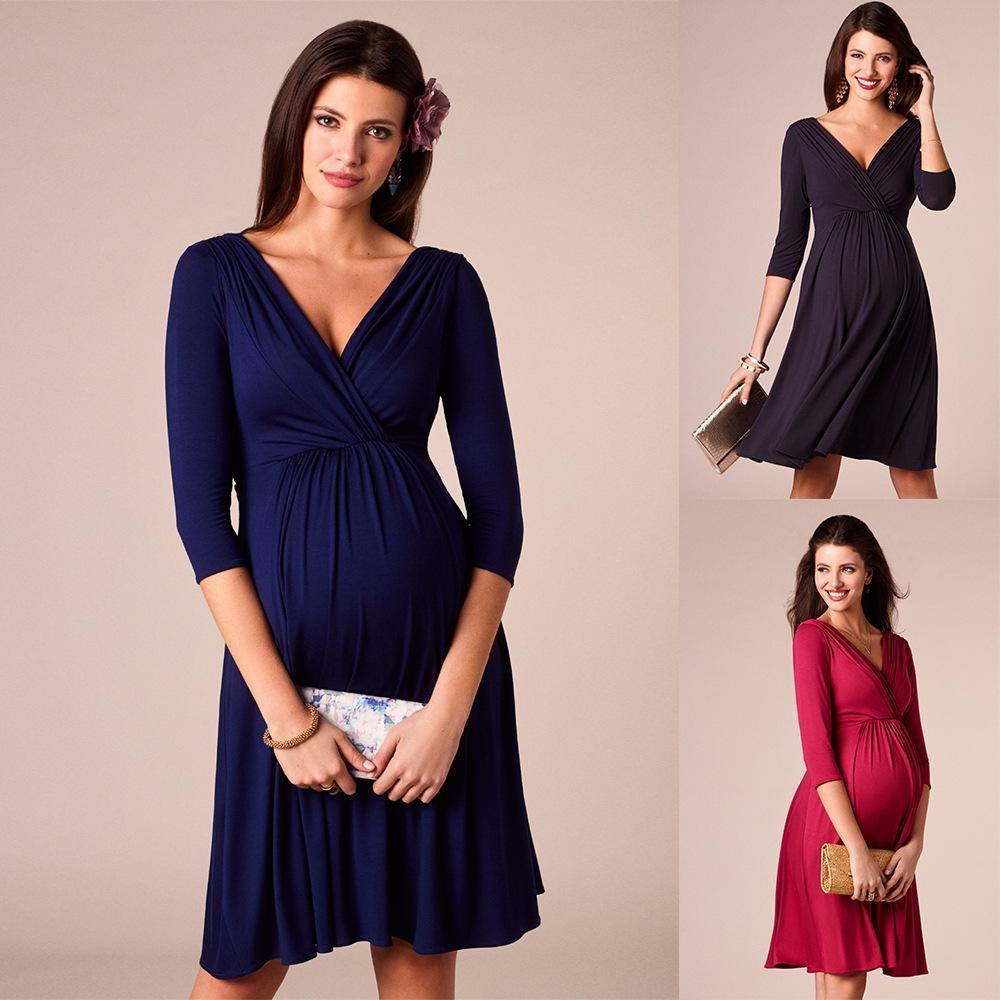 Ladies Ruffled Deep V-neck Elegant Evening Dress Plus Size Maternity Dress Nursing Cloth Lactation Dress high-waisted Skirt