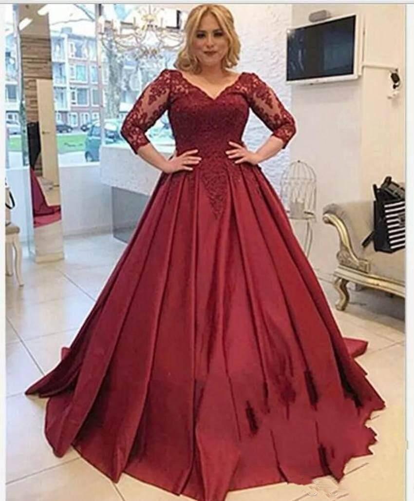 Más el tamaño de vestidos de noche de la vendimia rojo oscuro de encaje de manga Apliques tren de la corte del corsé del partido árabe Volver 3/4 viste vestidos de fiesta Vestidos