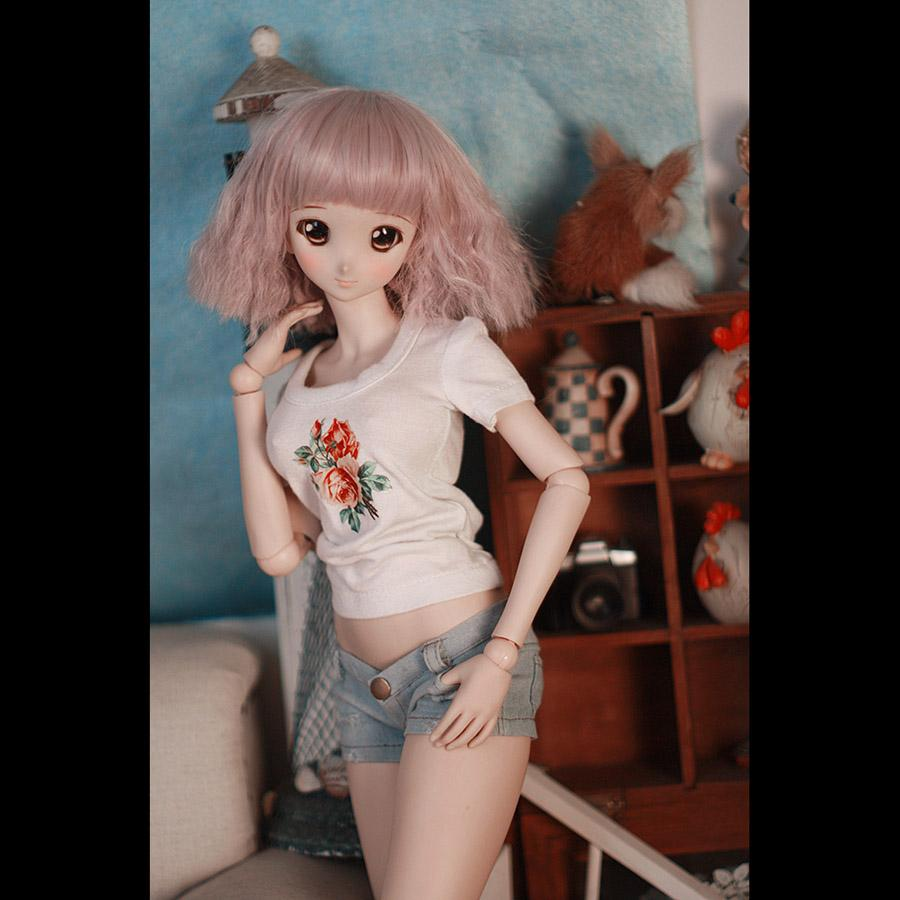 BYBJDHOME New BJD SD Doll clothes White heat transfer T-shirt + Short jeans