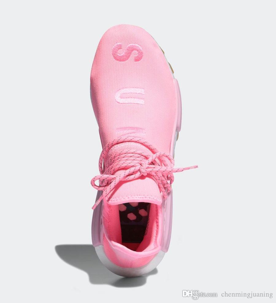 Новая распродажа Аутентичные Pharrell Williams NMD HU PRD Gum Pack Hyper Pop Мужчины Женщины Кроссовки Светло-розовые десен Спортивные кроссовки EG7740