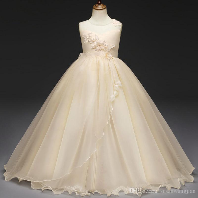 Color sólido único moderno Princesa Bastante Floral Arco lindo Encaje Blanco Malla Niñas jóvenes Vestidos largos para fiestas de ocasión Precio barato