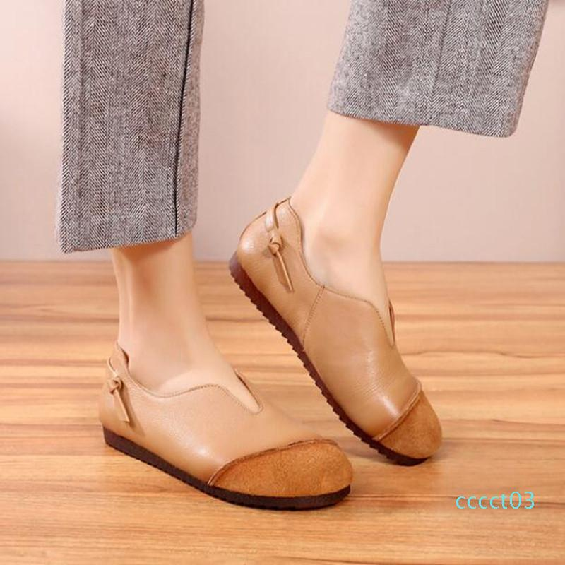 2019 New Soft Comfort Splice Cowhide Leather Shoes Woman Loafers Shoes Flat Soft Bottom Retro Driving Fashion Casual Flats 03ct