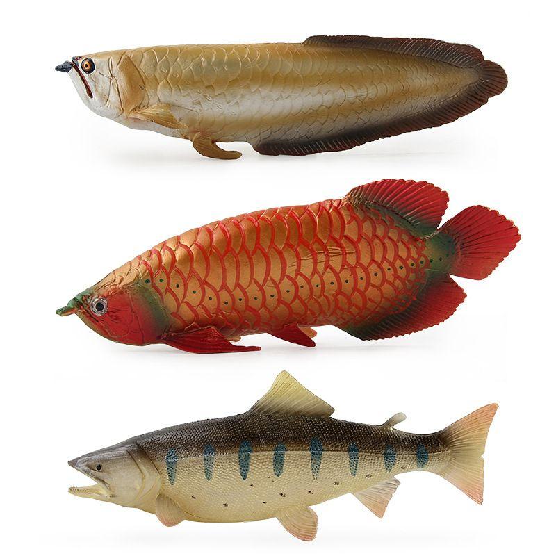 Modello Oceani modello animale Arowana Koi Fish Gar Lino salmone solido statico plastica ornamento gioco