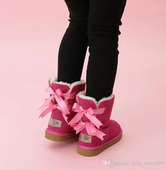 Libero di trasporto scherza Bailey 2 Archi Stivali bambini del cuoio genuino di Snow Boots Solid Botas de Nieve ragazze di inverno Calzature ragazze del bambino Stivali 02